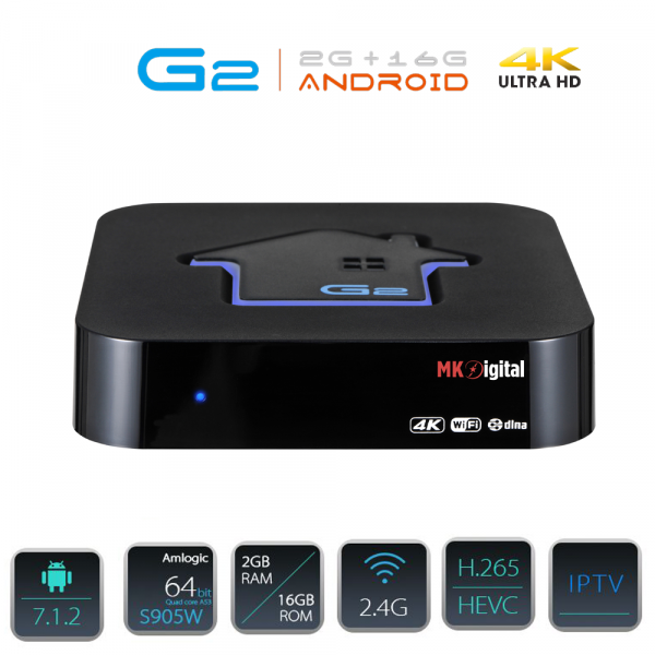 MK Digital G2 4K UHD IPTV Android 7 Player H.265 2GB RAM 16GB Flash Wlan, GTPlayer, Schwarz